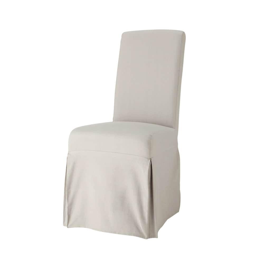 Housse longue de chaise en coton gris clair margaux - Housse de chaise grise ...