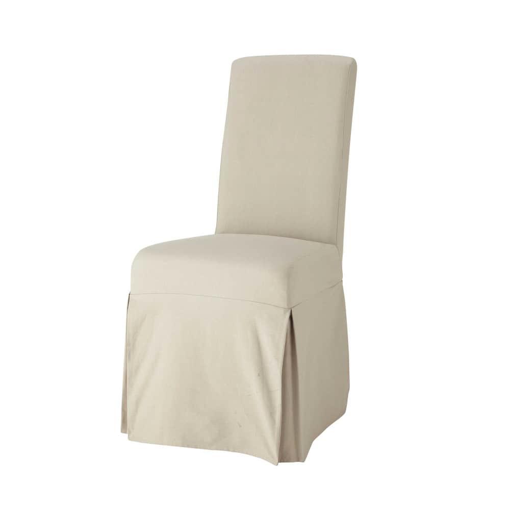Housse longue de chaise en coton mastic margaux maisons du monde - Housse chaise maison du monde ...