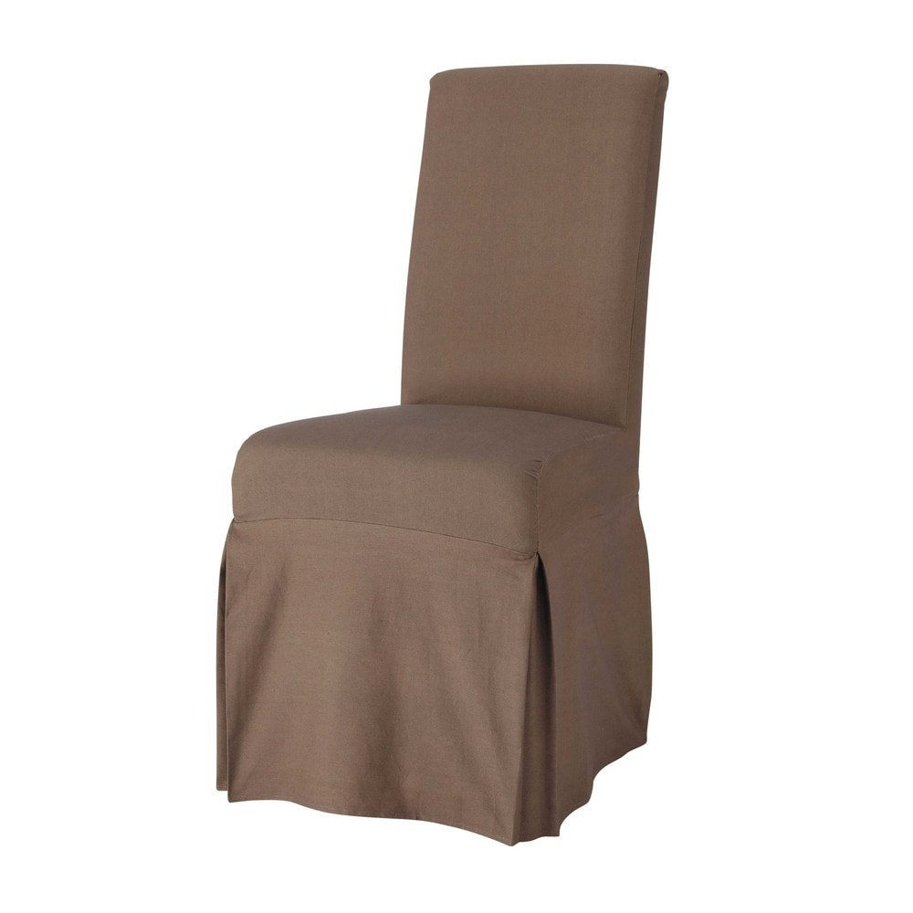 Housse longue de chaise en coton taupe margaux maisons - Housse de chaise coton ...