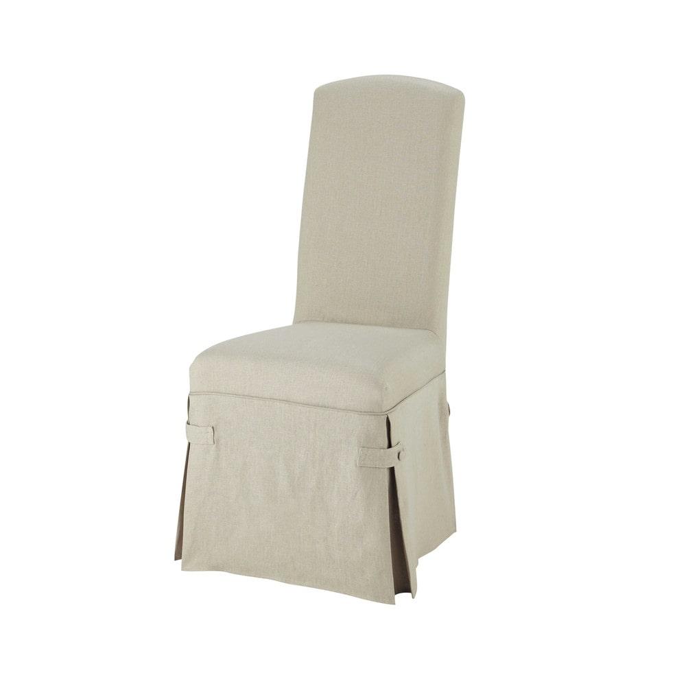 Housse longue de chaise en lin alice maisons du monde for Housse de chaise lin
