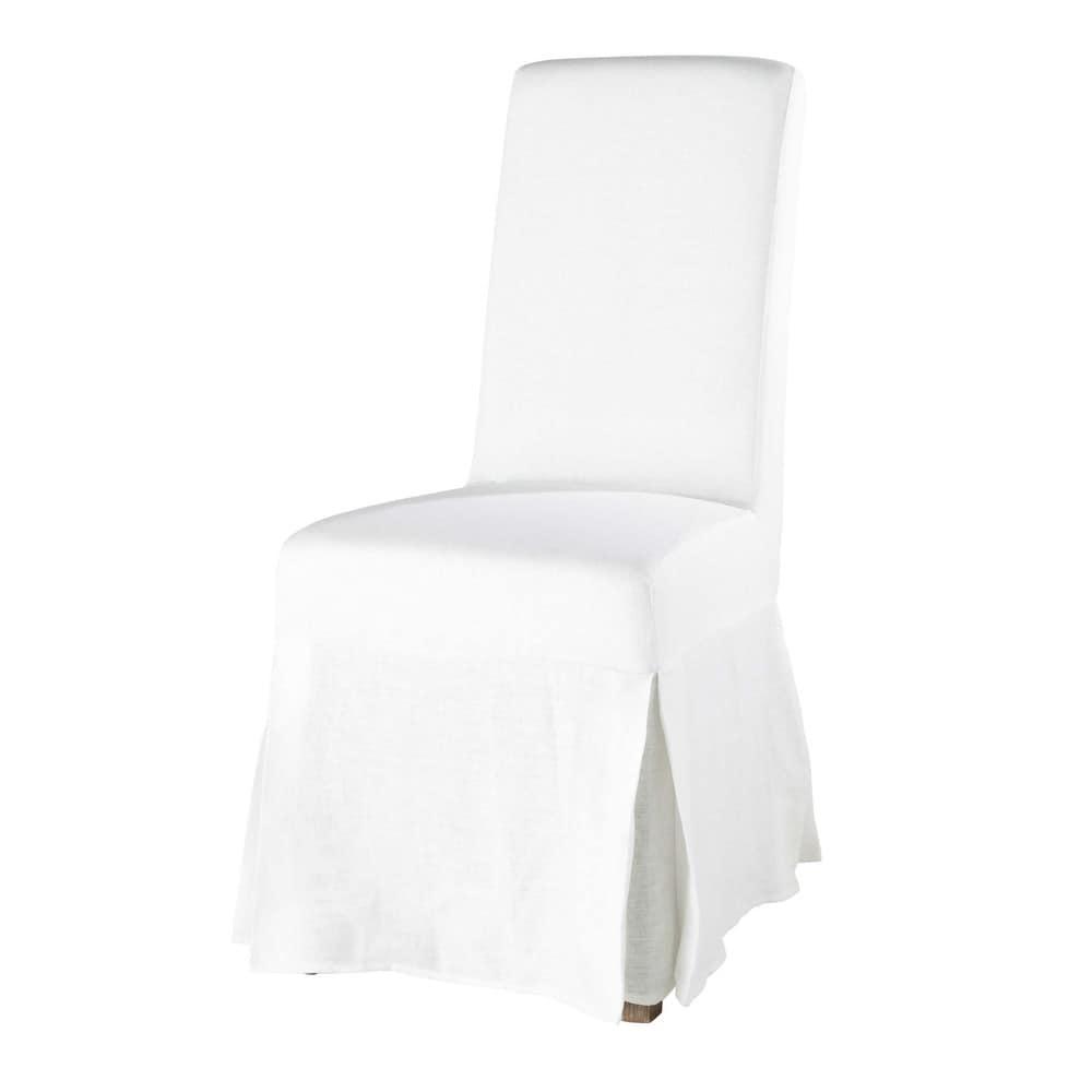 Housse longue de chaise en lin lav blanche margaux for Housse de canape en lin