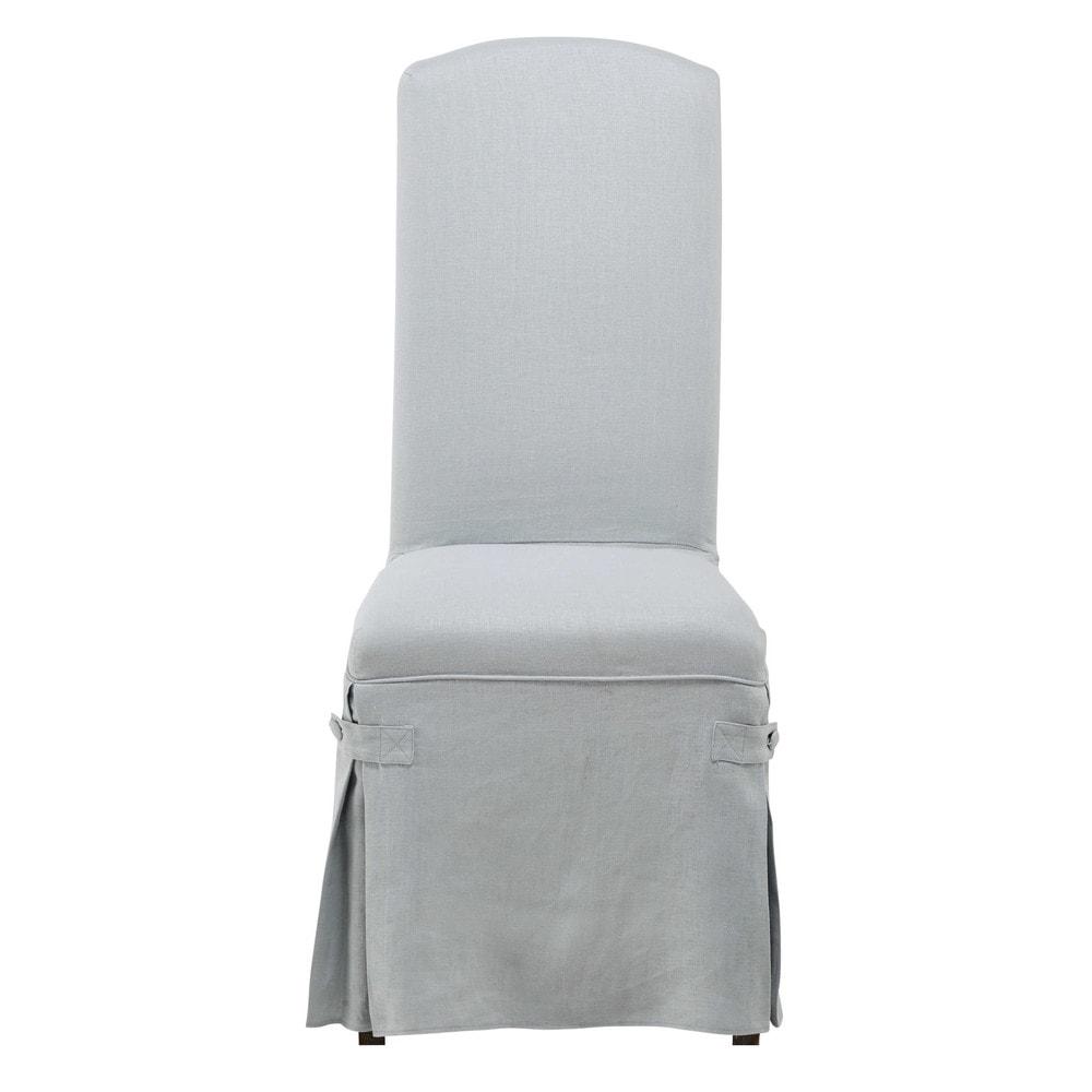 Housse longue de chaise en lin lav bleue alice maisons - Housse chaise lin ...