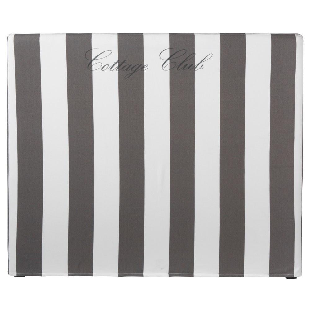 housse t te de lit ray e gris blanc 160 cm dream. Black Bedroom Furniture Sets. Home Design Ideas