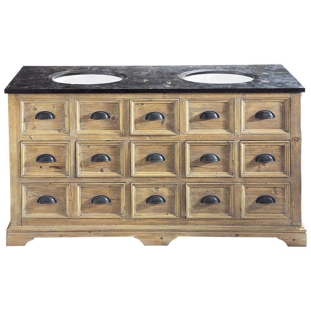 Houten en marmeren badkamermeubel met dubbele wastafel b for Maison de valerie meuble