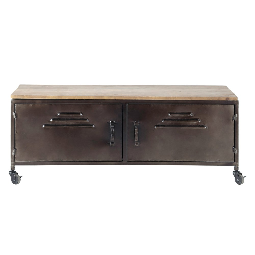 Houten en metalen industrieel tv meubel op wieltjes met verweerd effect B 115 cm Wayne   Maisons