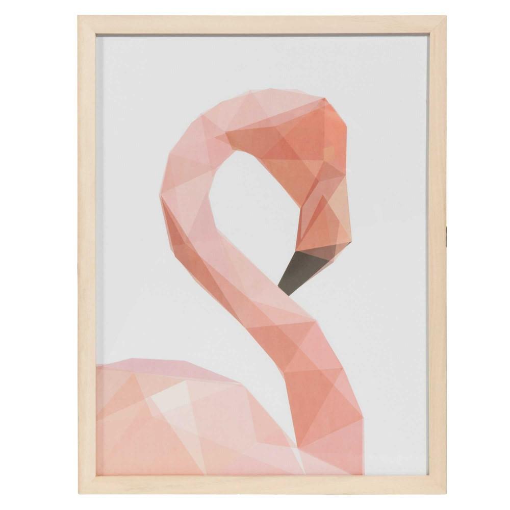 Houten prent 34 x 44 cm flamingo graphic maisons du monde for Maison du monde cuadros