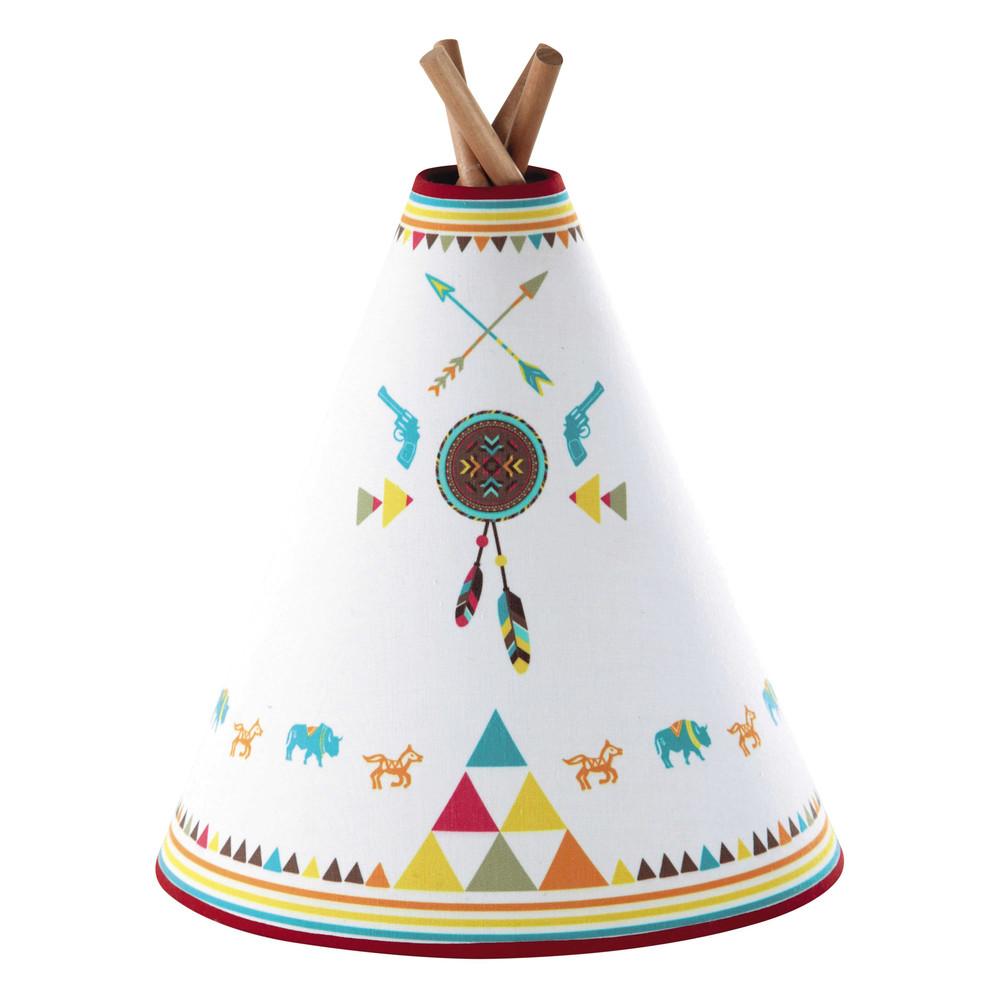 houten tipi apache kinderlamp met meerkleurige katoenen. Black Bedroom Furniture Sets. Home Design Ideas