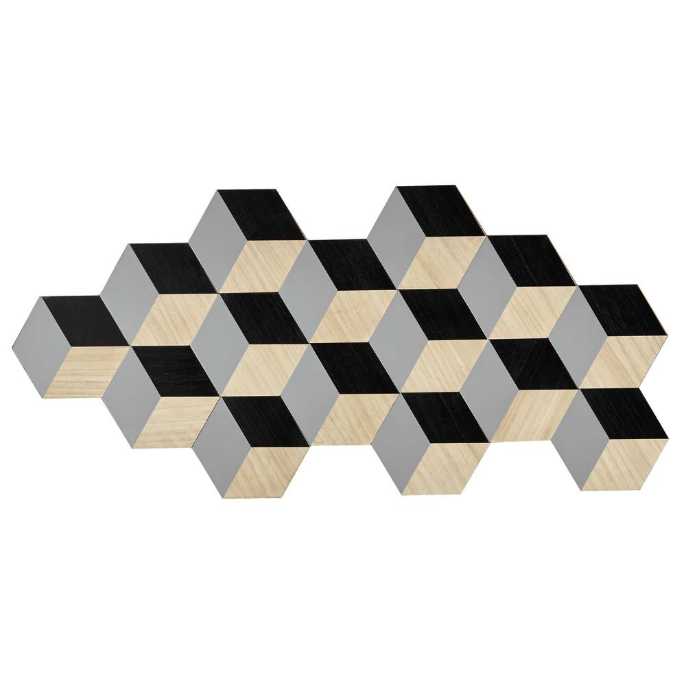 Houten wanddecoratie, grijs/zwart, 57 x 122 cm, ORIGAMIX  Maisons du ...