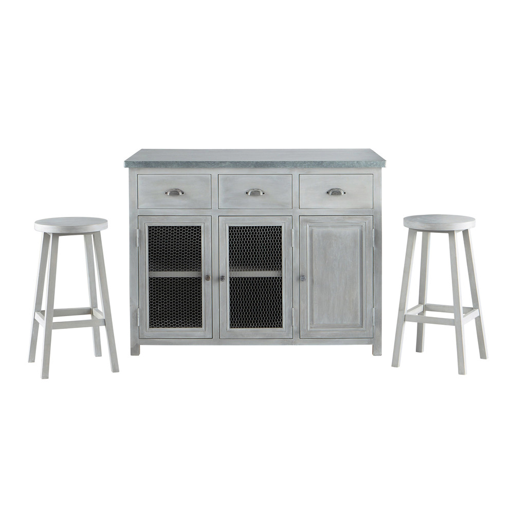 lot central 2 tabourets en bois d 39 acacia gris l 120 cm zinc maisons du monde. Black Bedroom Furniture Sets. Home Design Ideas