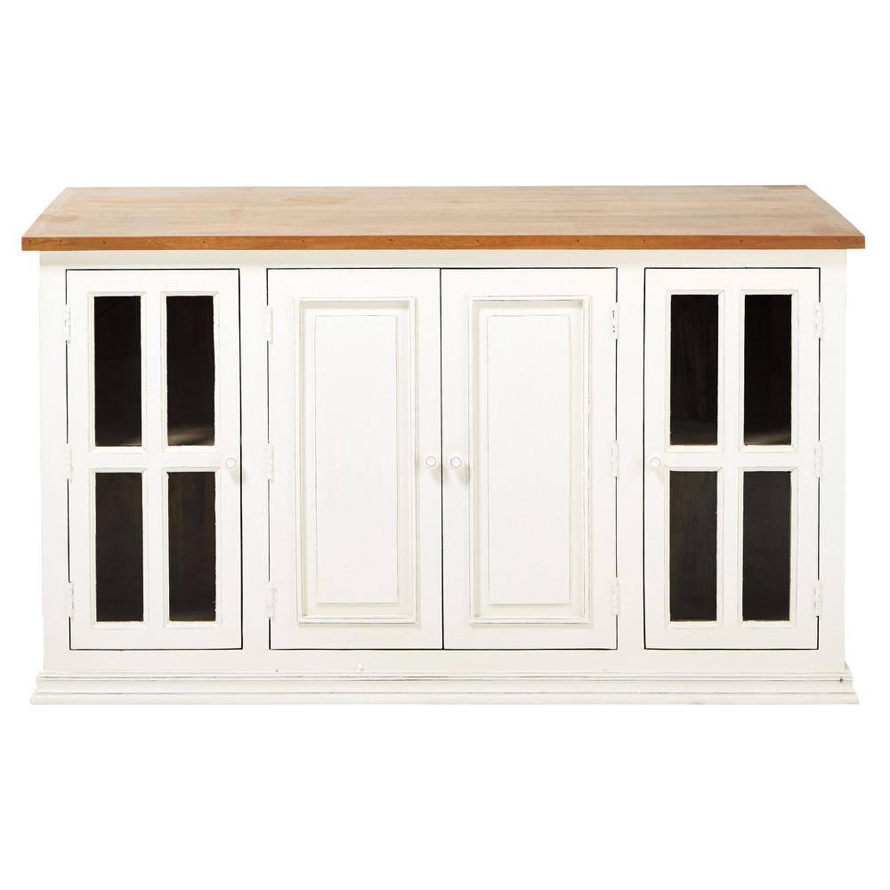 lot central en manguier ivoire l 160 cm eleonore. Black Bedroom Furniture Sets. Home Design Ideas