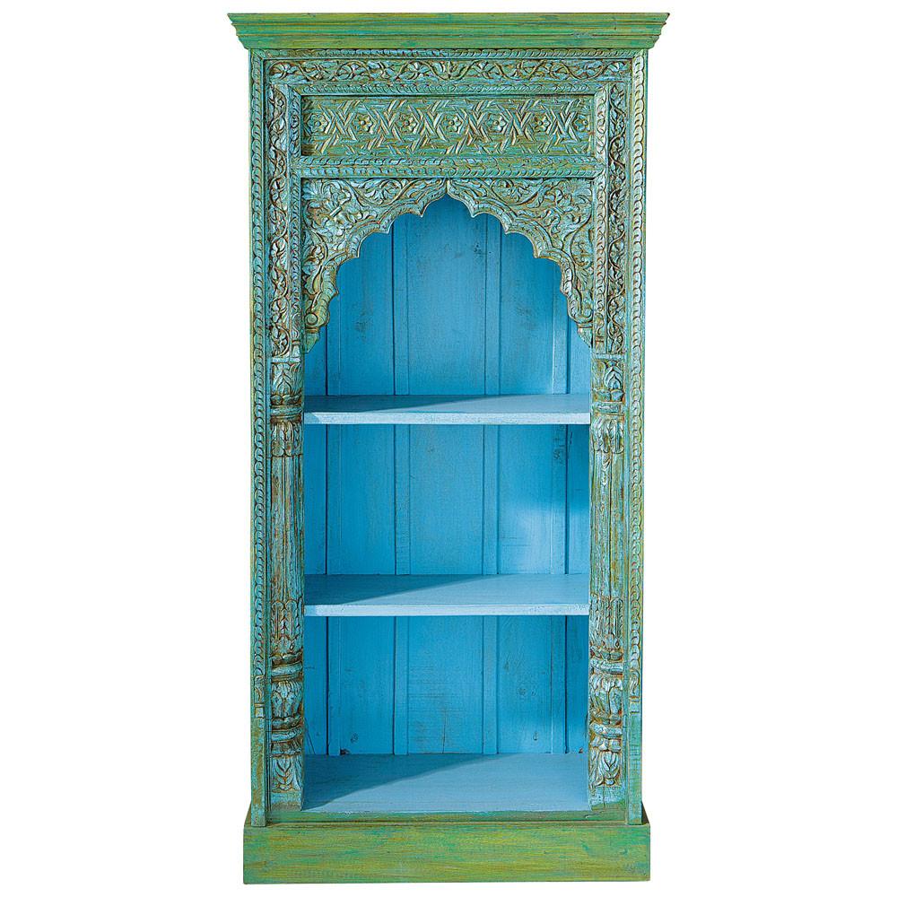 indisches b cherregal aus massivem mangoholz b 84 cm gr n madras madras maisons du monde. Black Bedroom Furniture Sets. Home Design Ideas