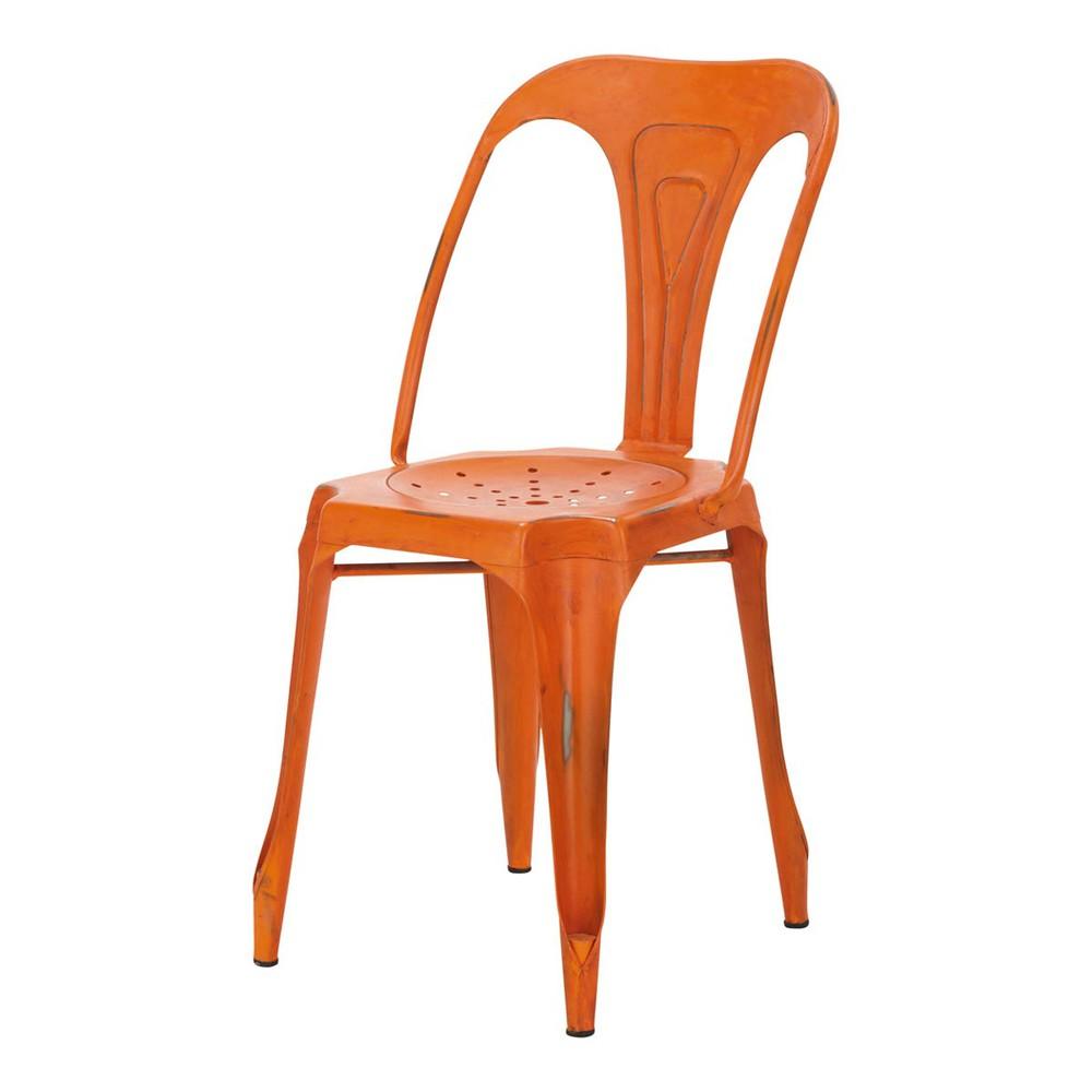 Industrial chair in orange multipls multipl 39 s maisons for Chaise orange
