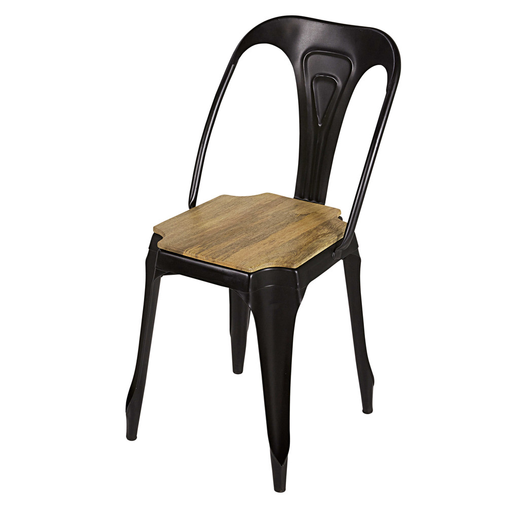 industrial matte black metal and mango wood chair multipl 39 s maisons du monde. Black Bedroom Furniture Sets. Home Design Ideas
