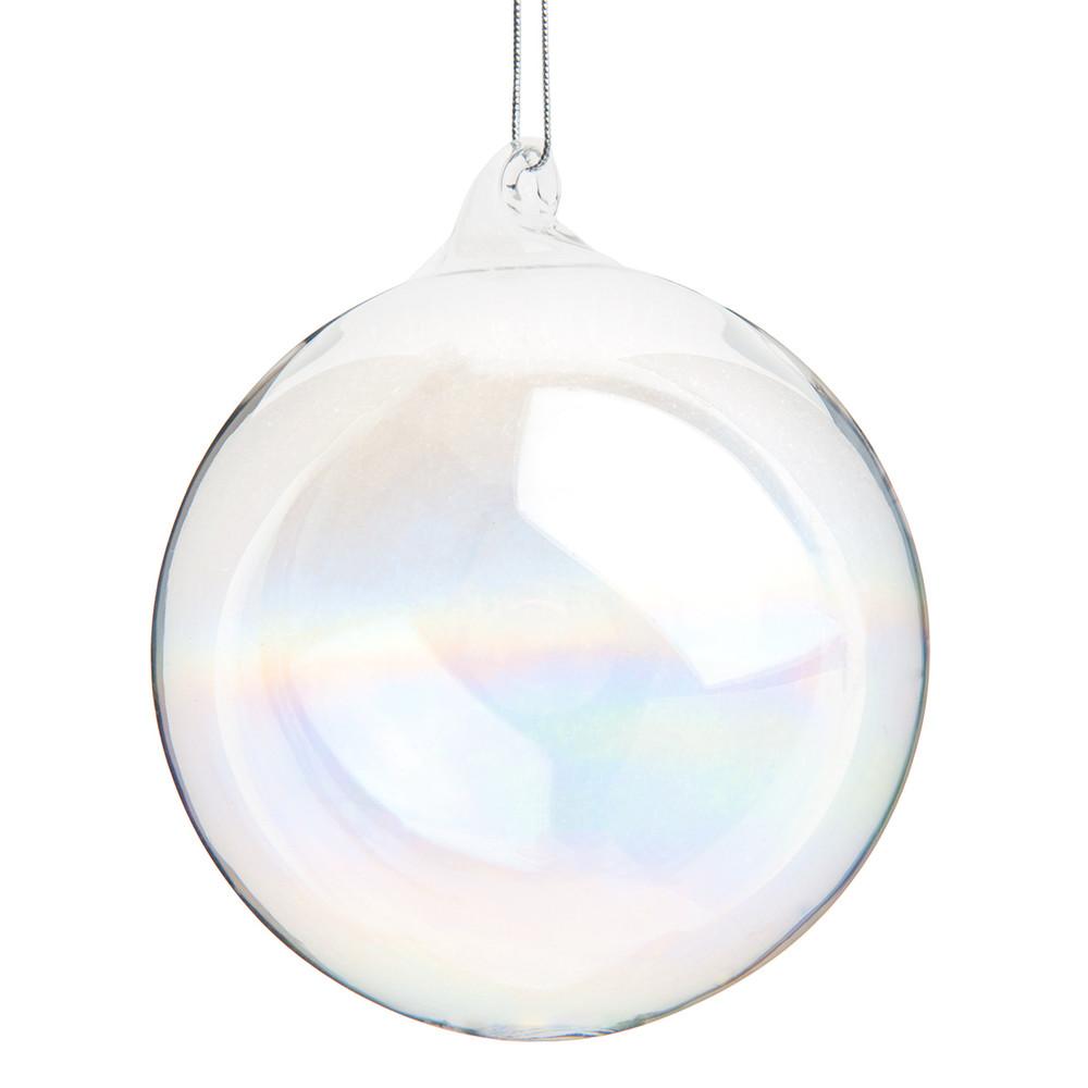 iridescent transparent glass christmas bauble 8 cm maisons du monde