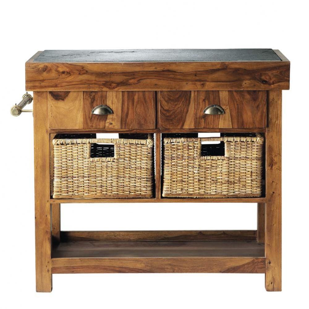 Isla de cocina de madera maciza de palo rosa y pizarra an - Muebles de cocina madera maciza ...