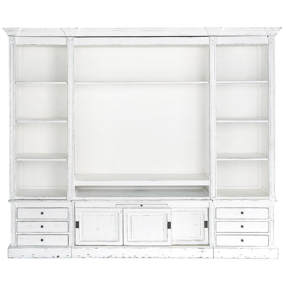 ivoorkleurig massief houten boekenkast tv meubel b 264 cm passy maisons du monde