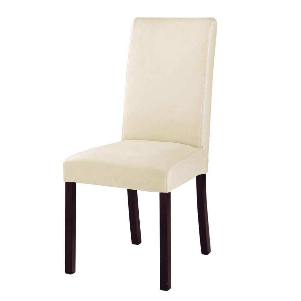 Ivoorkleurige splitleer en houten stoel harvard maisons du monde - Smeedijzeren stoel en houten ...