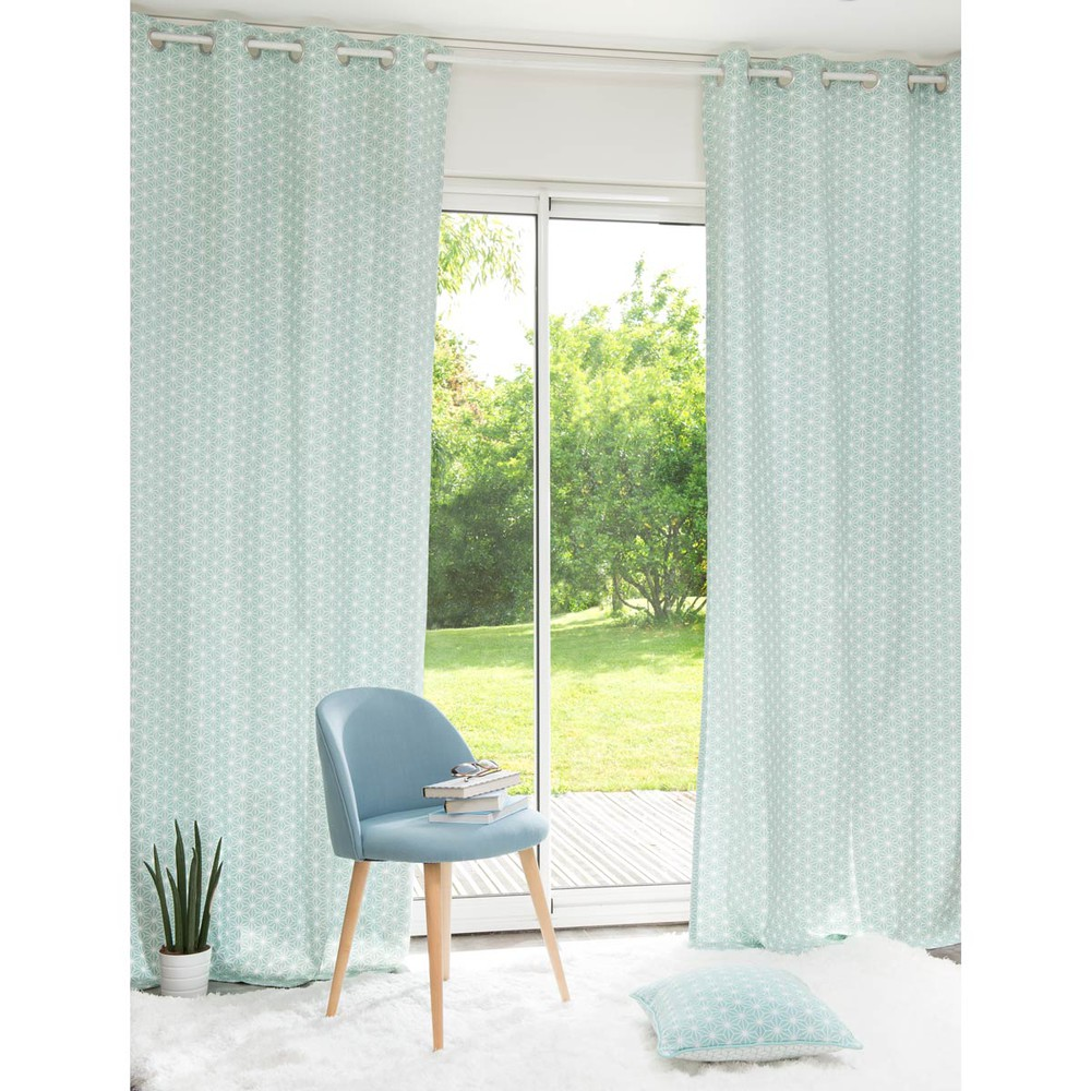 ivy cotton patterned curtain with eyelets blue 110 x