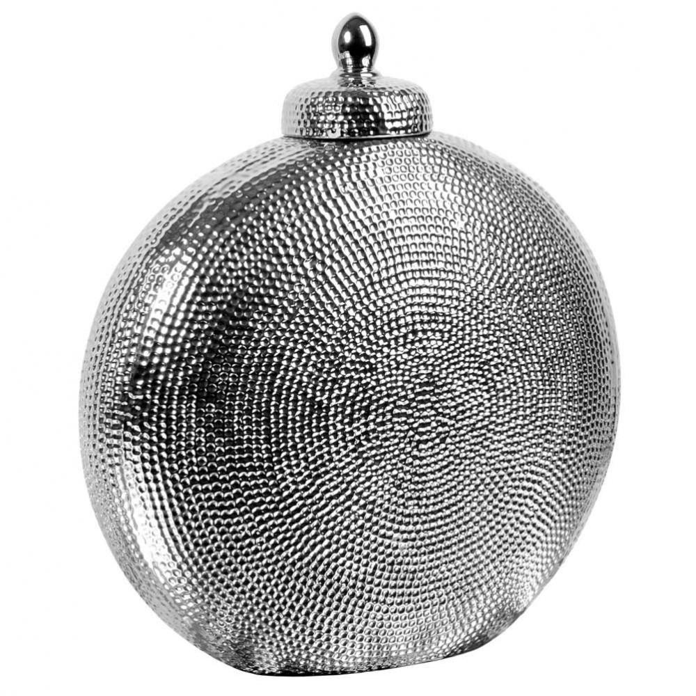 Jarre en fa ence argent h 37 cm maisons du monde for Lampe de chevet orientale