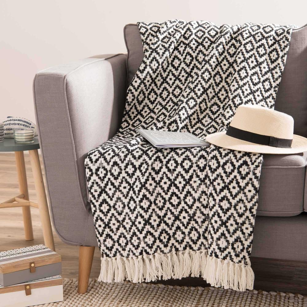 Jet en coton blanc motifs noirs 160x210 essaouira - Plaid canape maison du monde ...