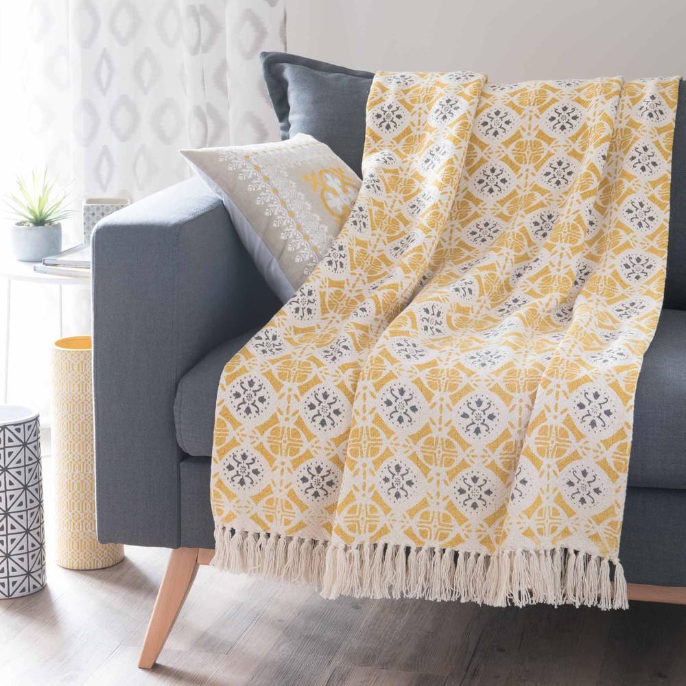 jet en coton jaune gris 160 x 210 cm alcobaca maisons. Black Bedroom Furniture Sets. Home Design Ideas