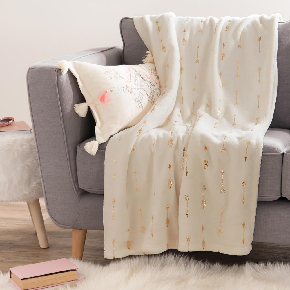 Jet en tissu blanc motifs dor s 150x200cm fleches - Jete de lit maison du monde ...