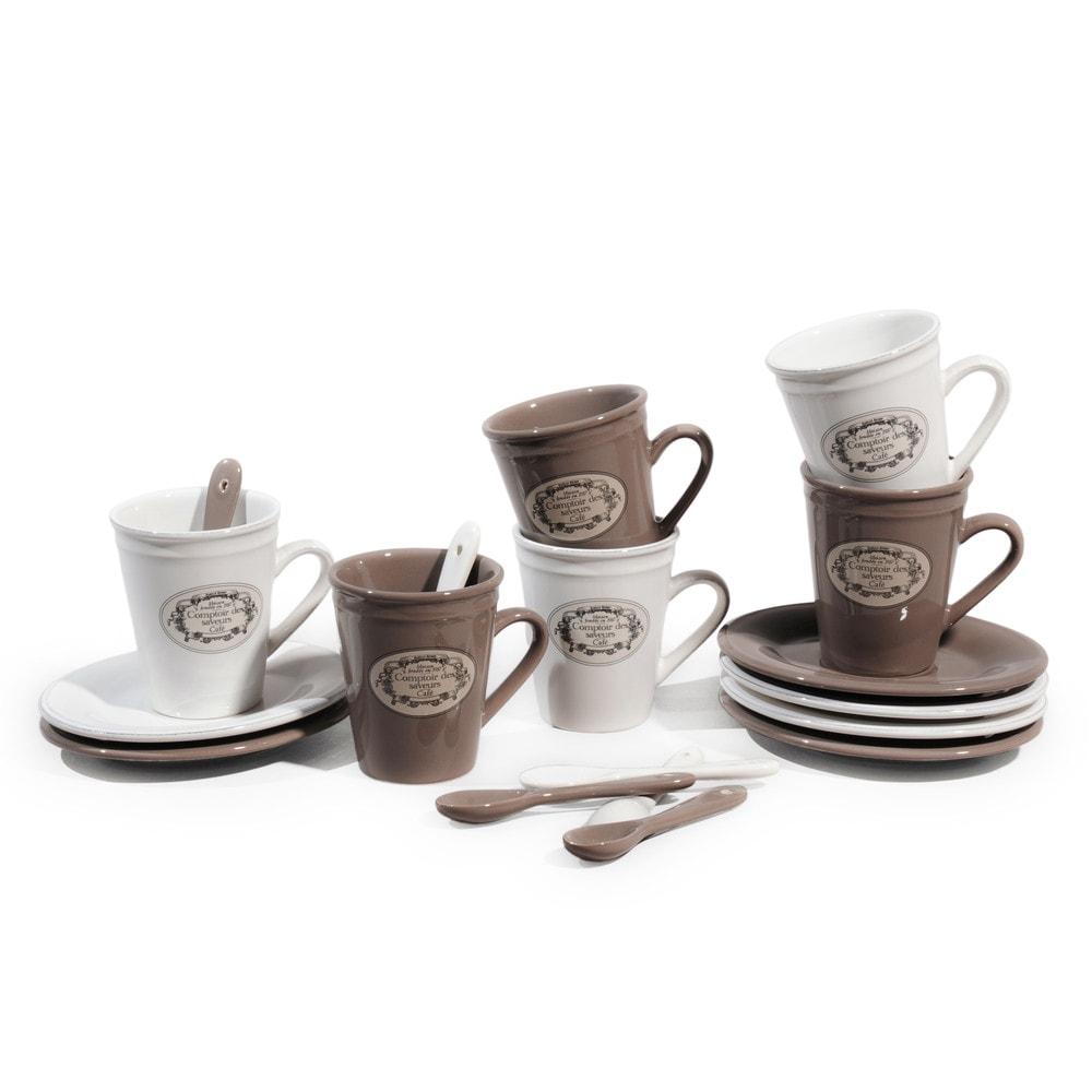Juego de 6 tazas de caf con platillos cucharas de loza for Decoracion con tazas de cafe