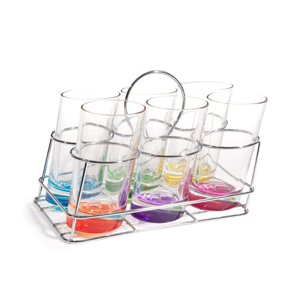Juego de 6 vasos de cristal de colores soporte met lico for Vasos cristal colores