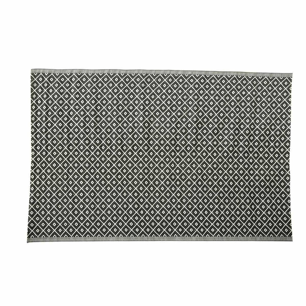Black Graphic Woven Emerson Indoor Outdoor Area Rug: KAMARI Polypropylene Outdoor Rug In Black & White 180 X