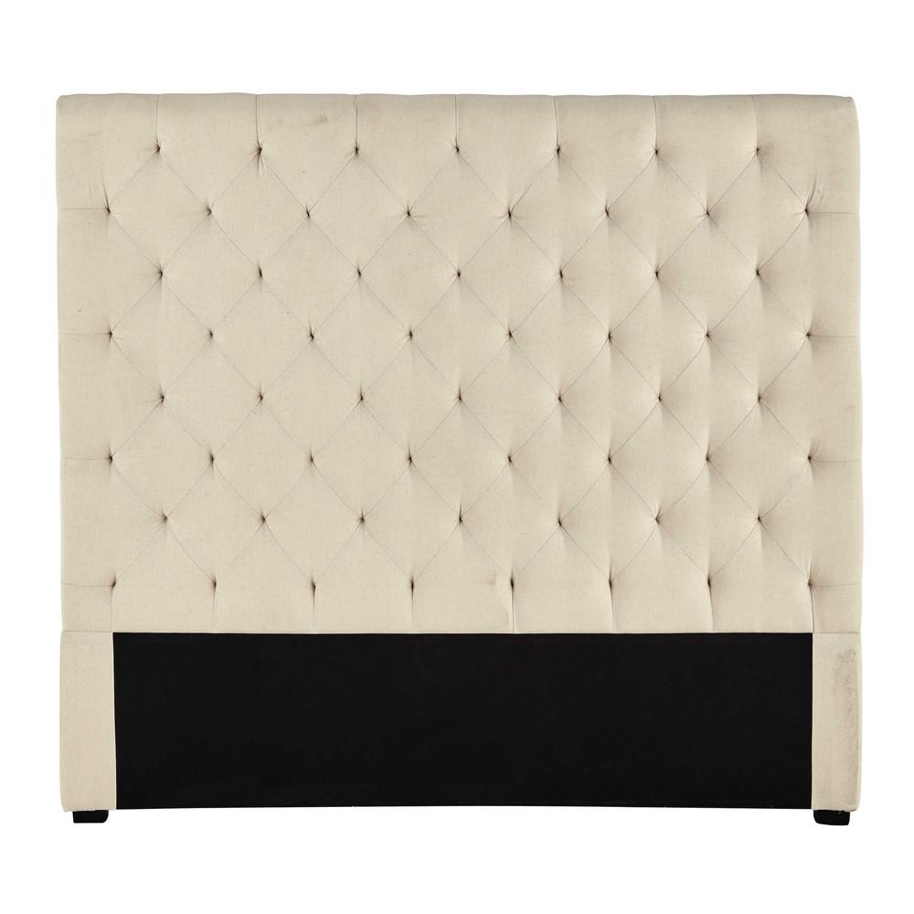 kapitoniertes kopfteil 140 cm aus stoff beige irisierend chesterfield maisons du monde. Black Bedroom Furniture Sets. Home Design Ideas