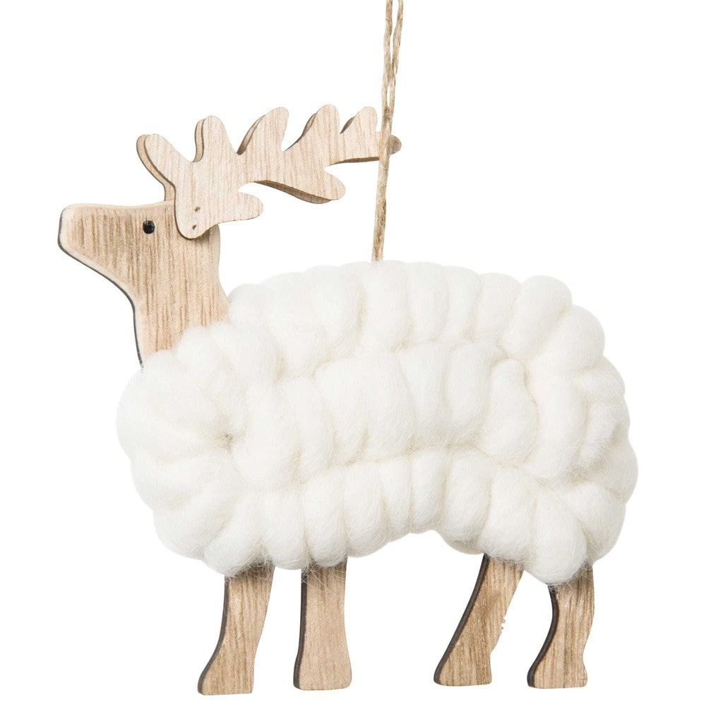 kerstdecoratie hert in hout en wol maisons du monde. Black Bedroom Furniture Sets. Home Design Ideas