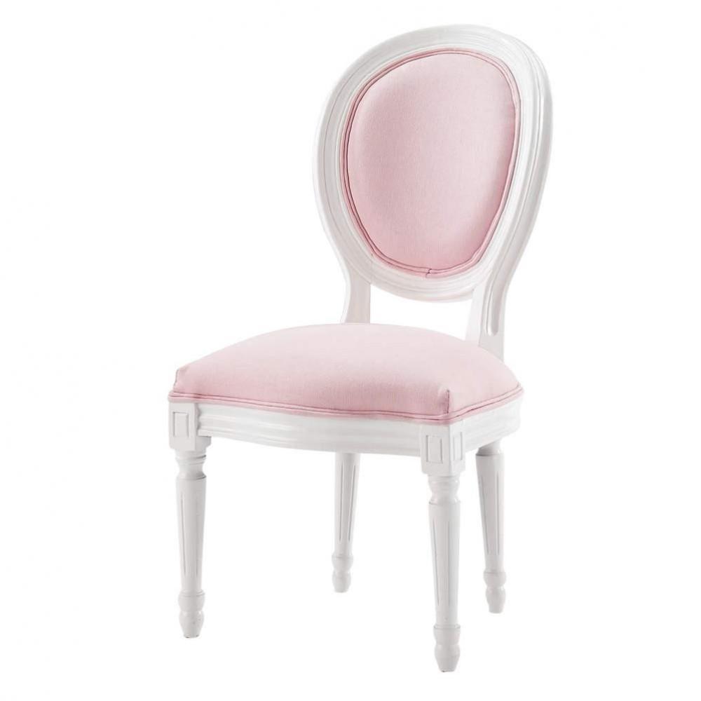 Schreibtischstuhl weiß holz  Kinder-Medaillonstuhl aus Holz, weiß/rosa Louis | Maisons du Monde