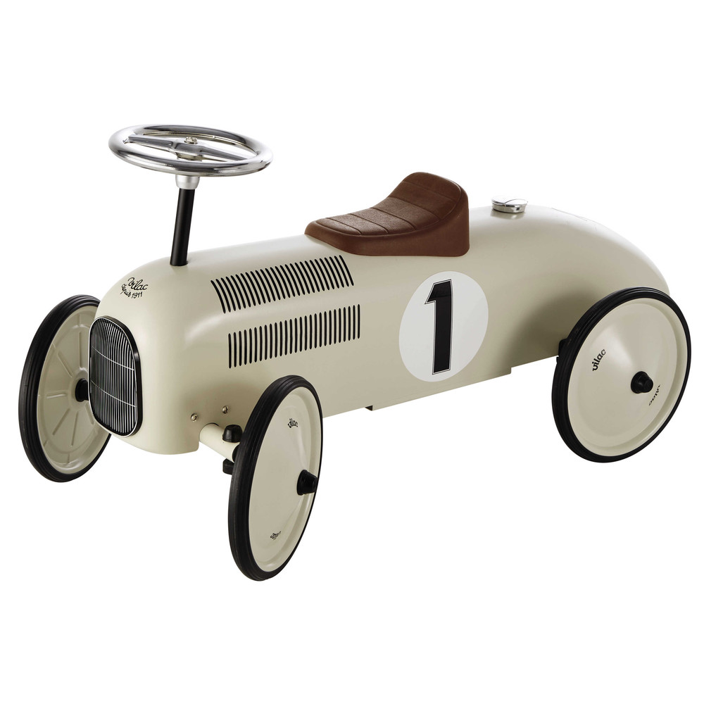 Kinderauto aus Metall cremeweiß L 76 cm VINTAGE | Maisons du Monde