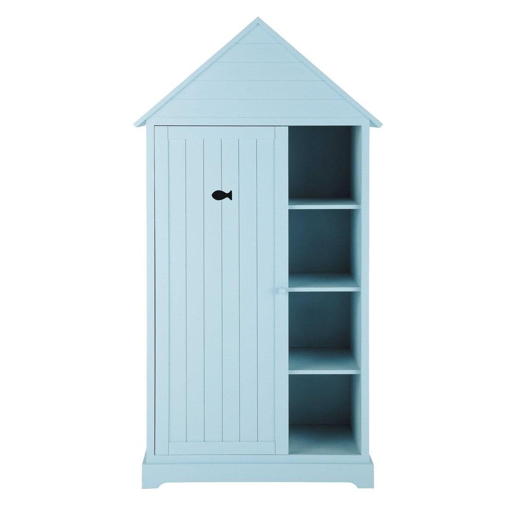 kinderkleiderschrank im h tten look aus holz b 95 cm blau marin maisons du monde. Black Bedroom Furniture Sets. Home Design Ideas