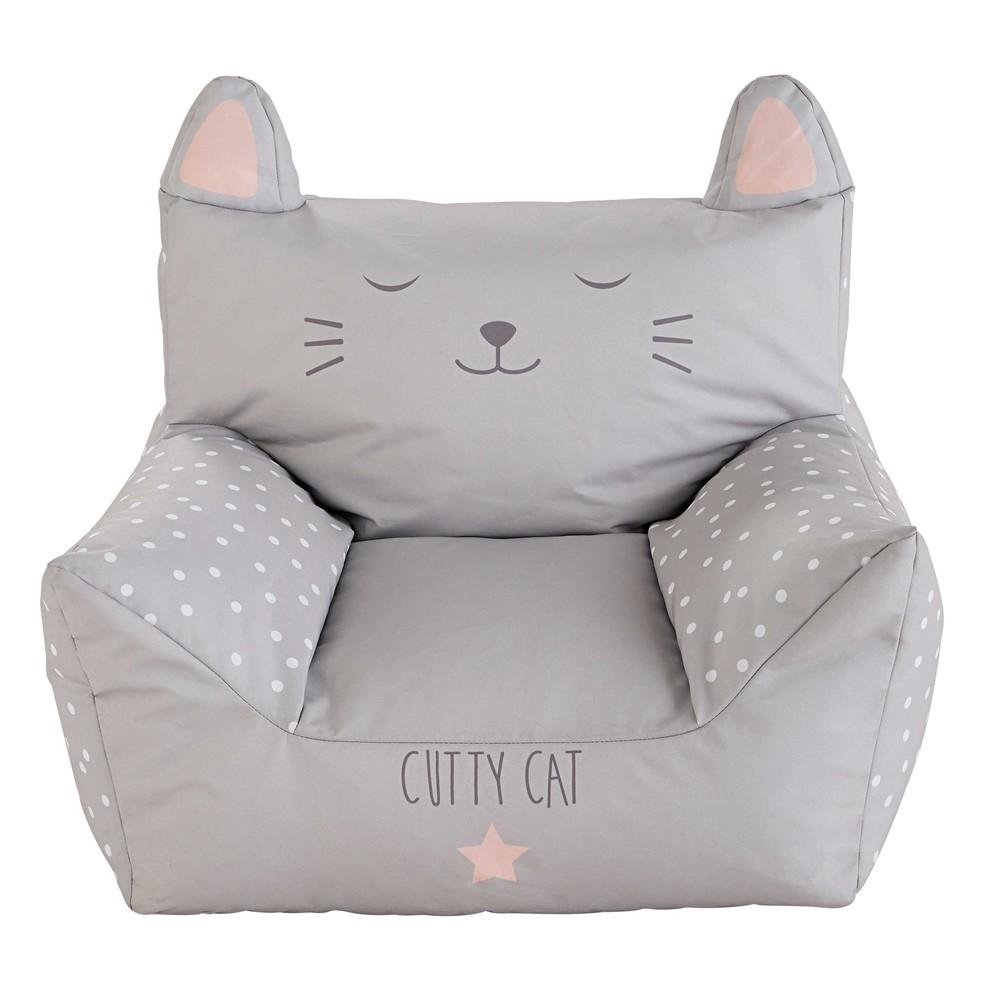 Kindersessel aus Baumwolle mit grauem Druckmotiv CATS | Maisons du ... | {Kindersessel 13}