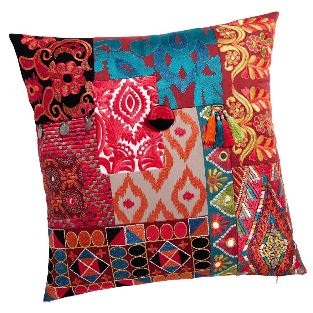 kissen aluga aus leinen und baumwolle 45 x 45 cm bunt maisons du monde. Black Bedroom Furniture Sets. Home Design Ideas