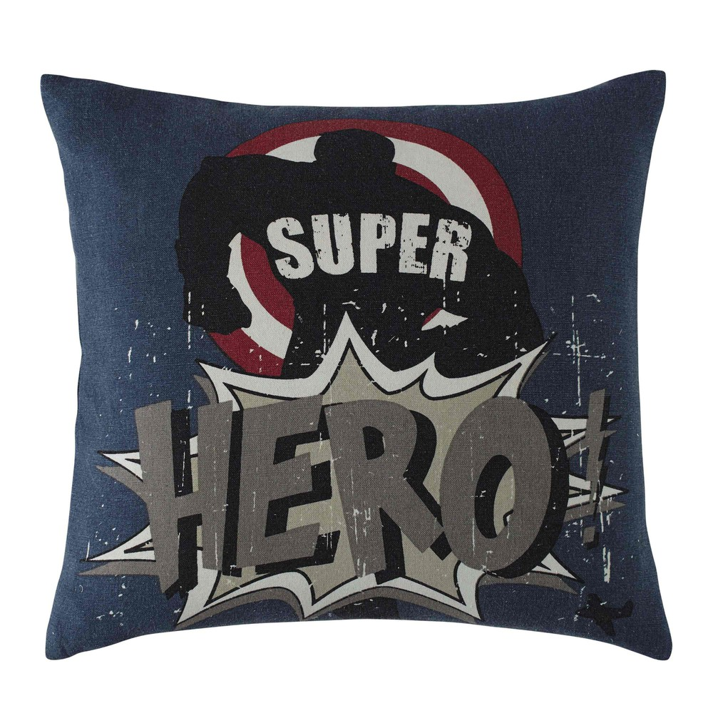 kissen aus baumwolle blau 40 x 40 cm super hero maisons du monde. Black Bedroom Furniture Sets. Home Design Ideas