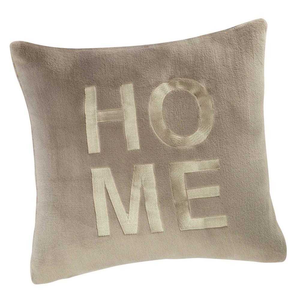 kissen gestickt grau 50 x 50 cm home maisons du monde. Black Bedroom Furniture Sets. Home Design Ideas