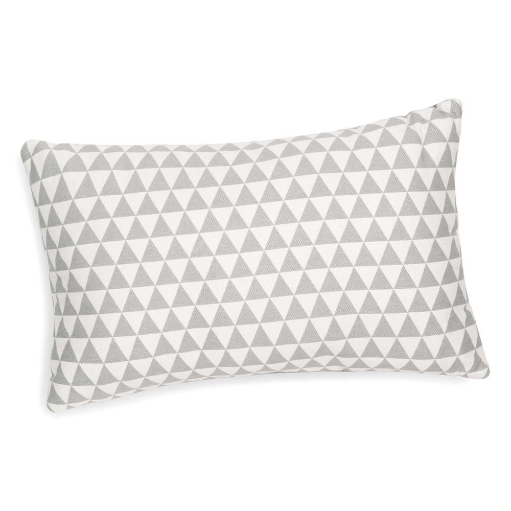 kissen mit dreieckmotiv wei grau 30 x 50 cm lena maisons du monde. Black Bedroom Furniture Sets. Home Design Ideas