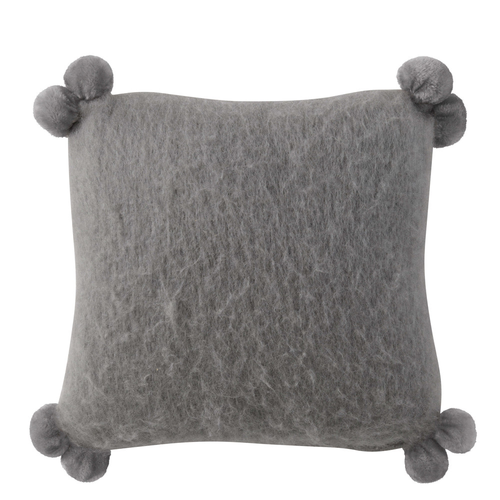 kissen pompone aus wolle mit quasten 45 x 45 cm grau maisons du monde. Black Bedroom Furniture Sets. Home Design Ideas