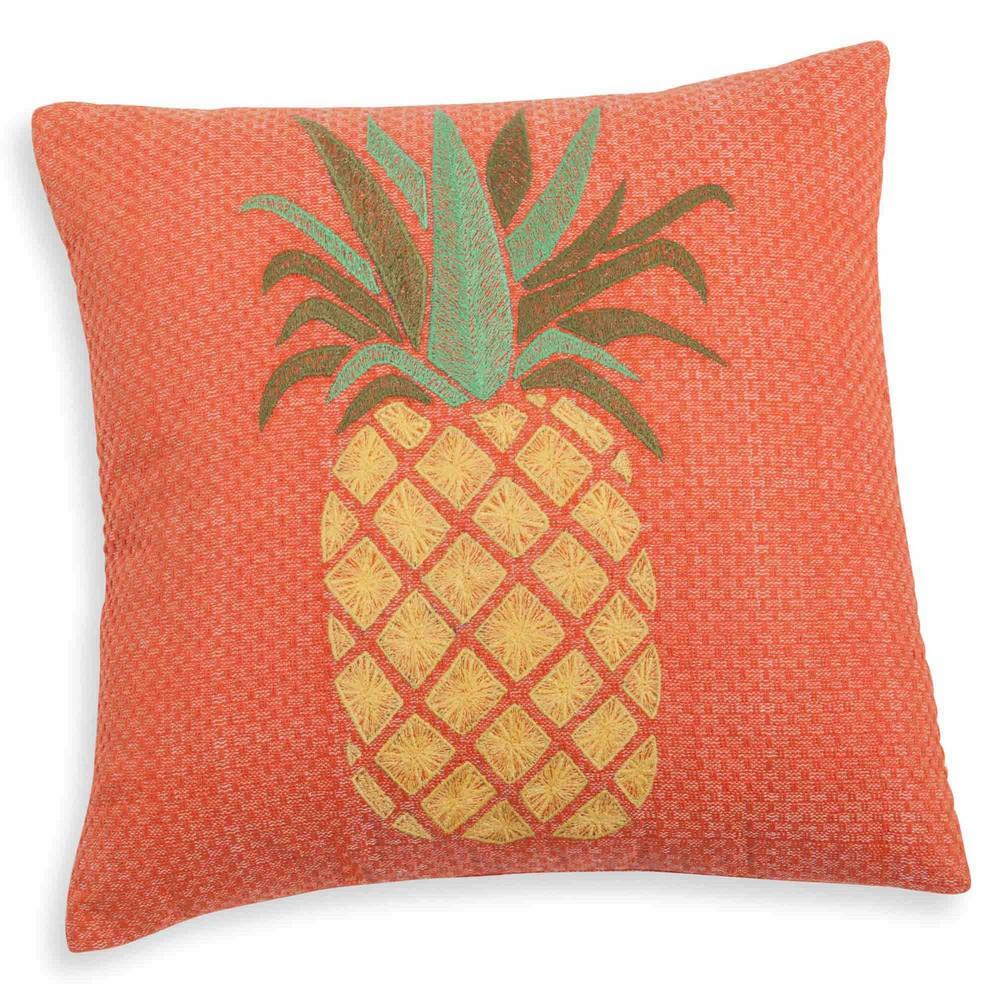 kissenbezug aus baumwolle bestickt orangefarben 40x40 cm ananas maisons du monde. Black Bedroom Furniture Sets. Home Design Ideas