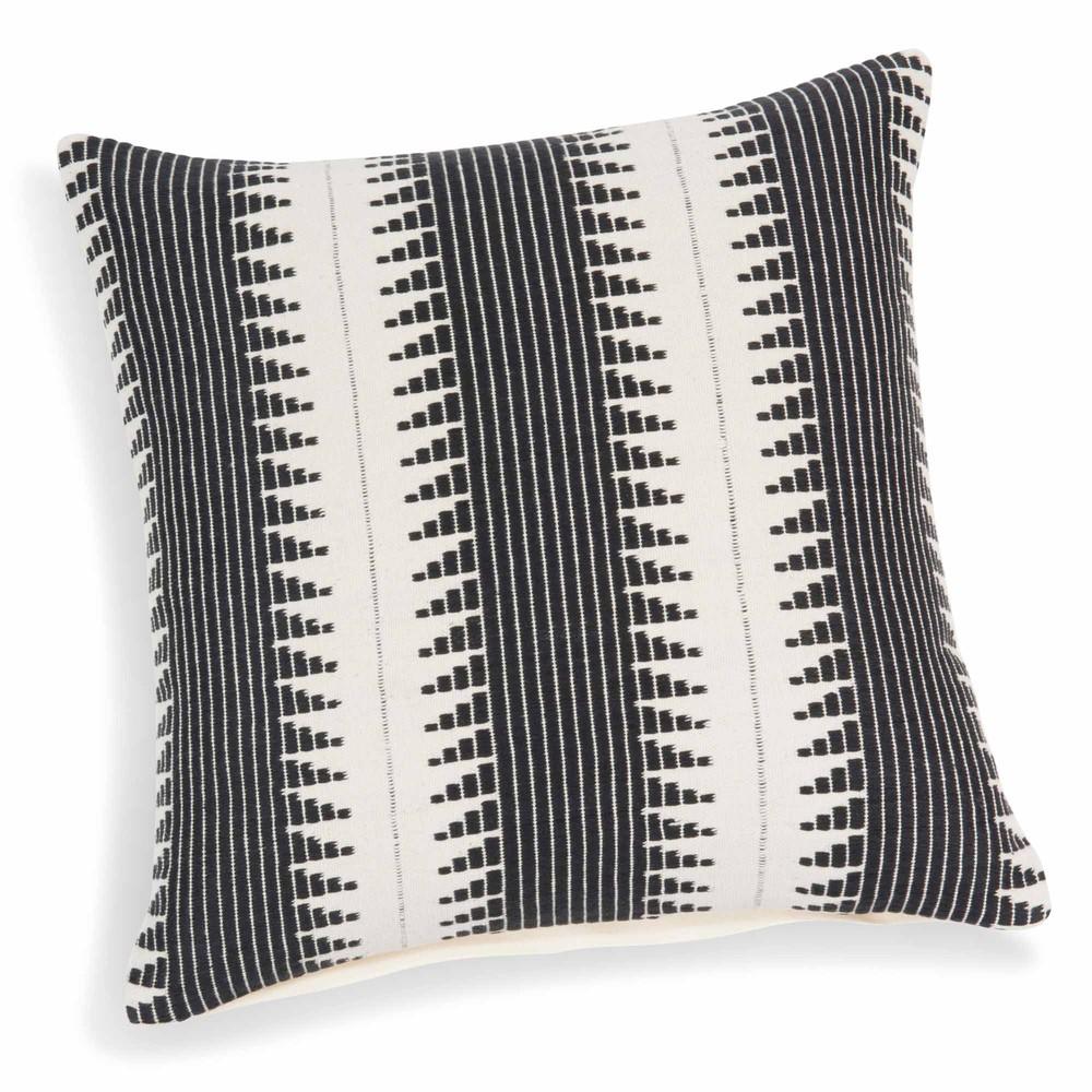 kissenbezug aus baumwolle wei schwarz 40 x 40 cm figueira maisons du monde. Black Bedroom Furniture Sets. Home Design Ideas