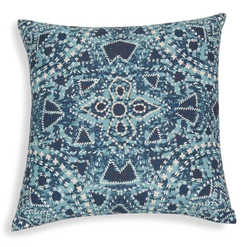 kissenbezug aus bestickter baumwolle mit blauen motiven 40x40 cm monastir maisons du monde. Black Bedroom Furniture Sets. Home Design Ideas