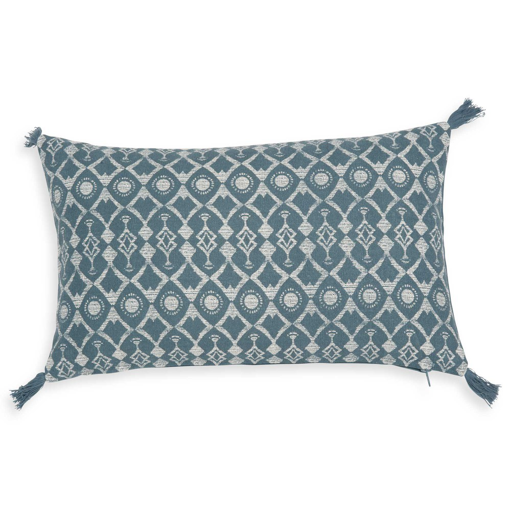 kissenbezug aus t rkisblauer baumwolle 40x40 cm gruissan maisons du monde. Black Bedroom Furniture Sets. Home Design Ideas