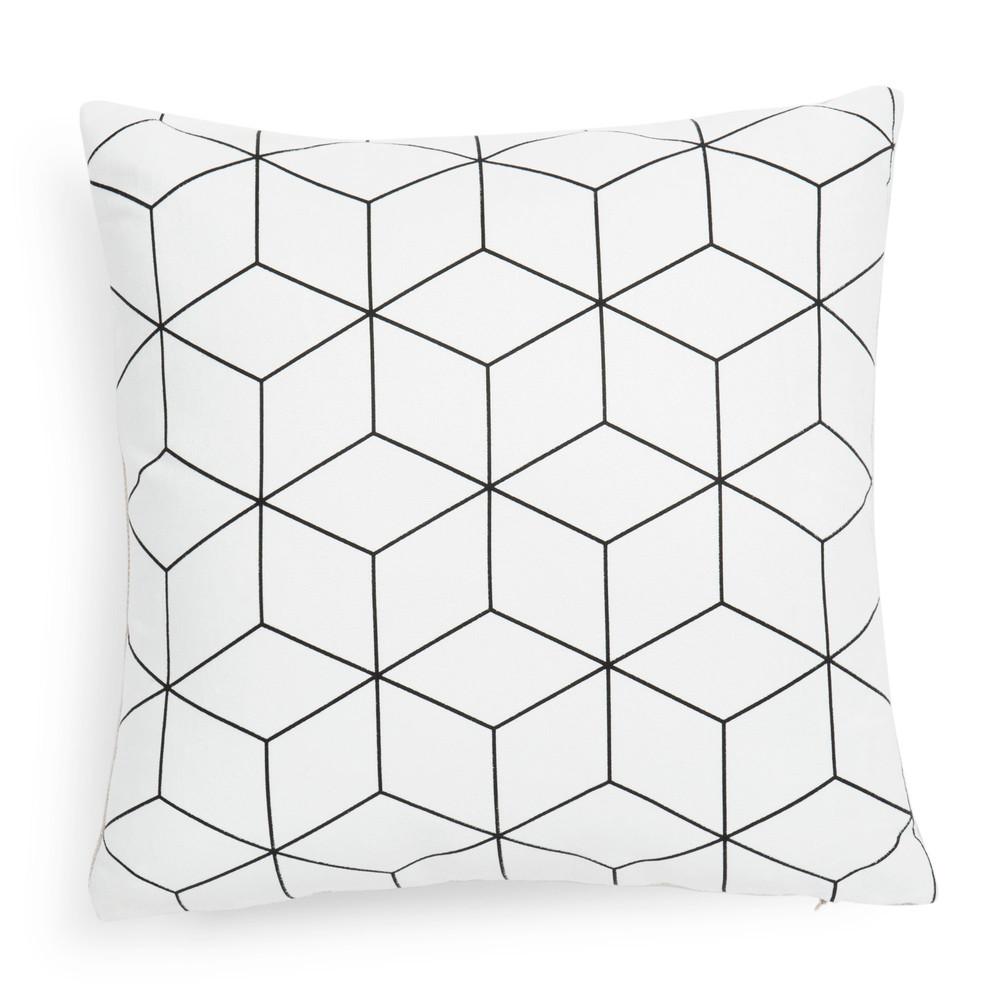 kissenbezug cubo aus wei stoff 40 x 40 cm maisons du monde. Black Bedroom Furniture Sets. Home Design Ideas
