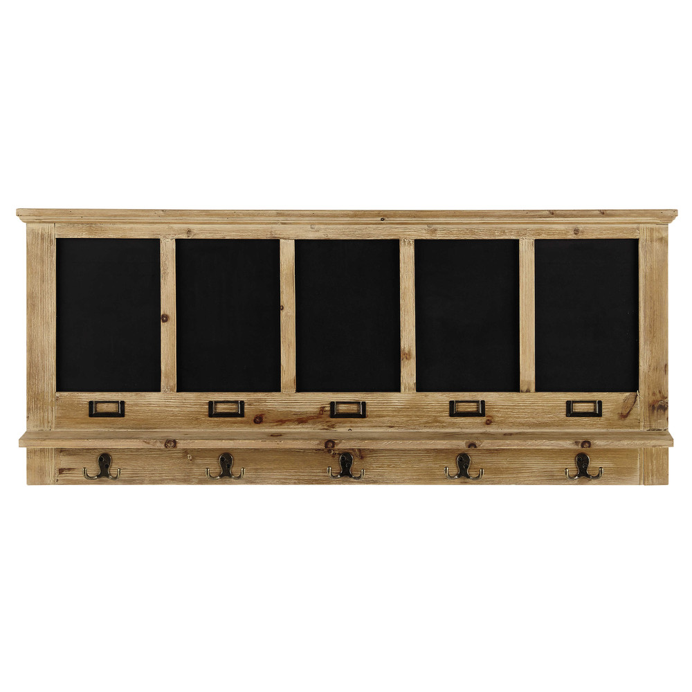 kleiderhaken albertine aus holz mit 5 aufh ngern und schiefertafeln maisons du monde. Black Bedroom Furniture Sets. Home Design Ideas