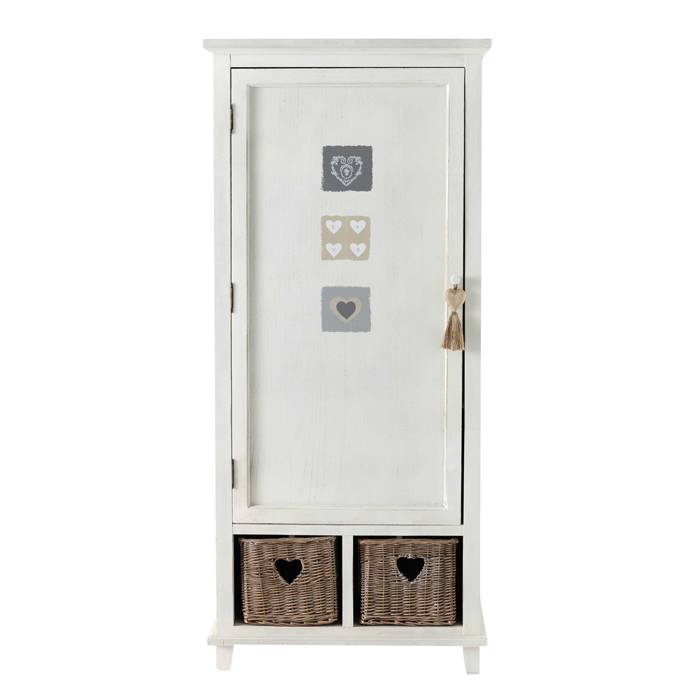 kleiderschrank 1 t rig aus holz mit herzdekoration b 80. Black Bedroom Furniture Sets. Home Design Ideas