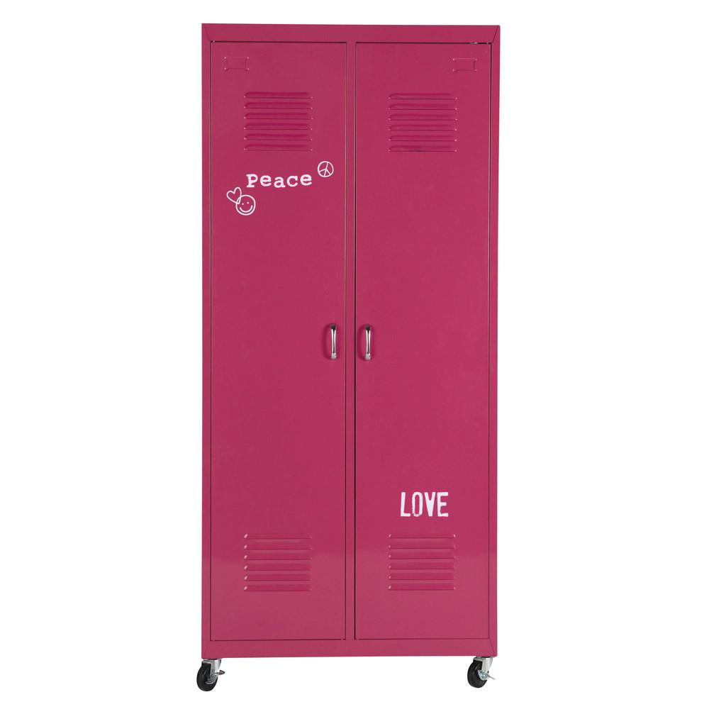 kleiderschrank auf rollen aus metall b 85 cm rosa loft. Black Bedroom Furniture Sets. Home Design Ideas