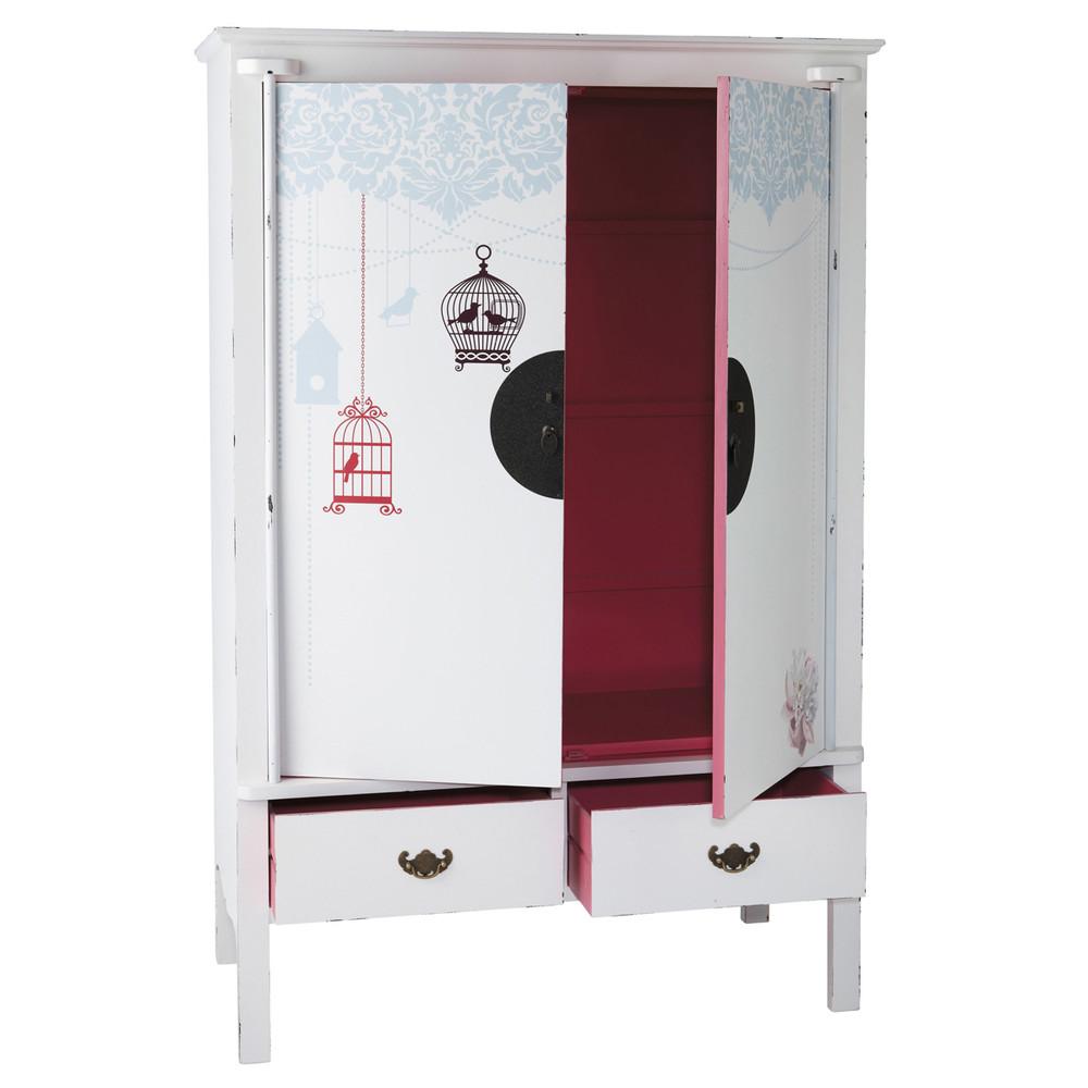 kleiderschrank aus holz b 120 cm wei rosa jade jade. Black Bedroom Furniture Sets. Home Design Ideas