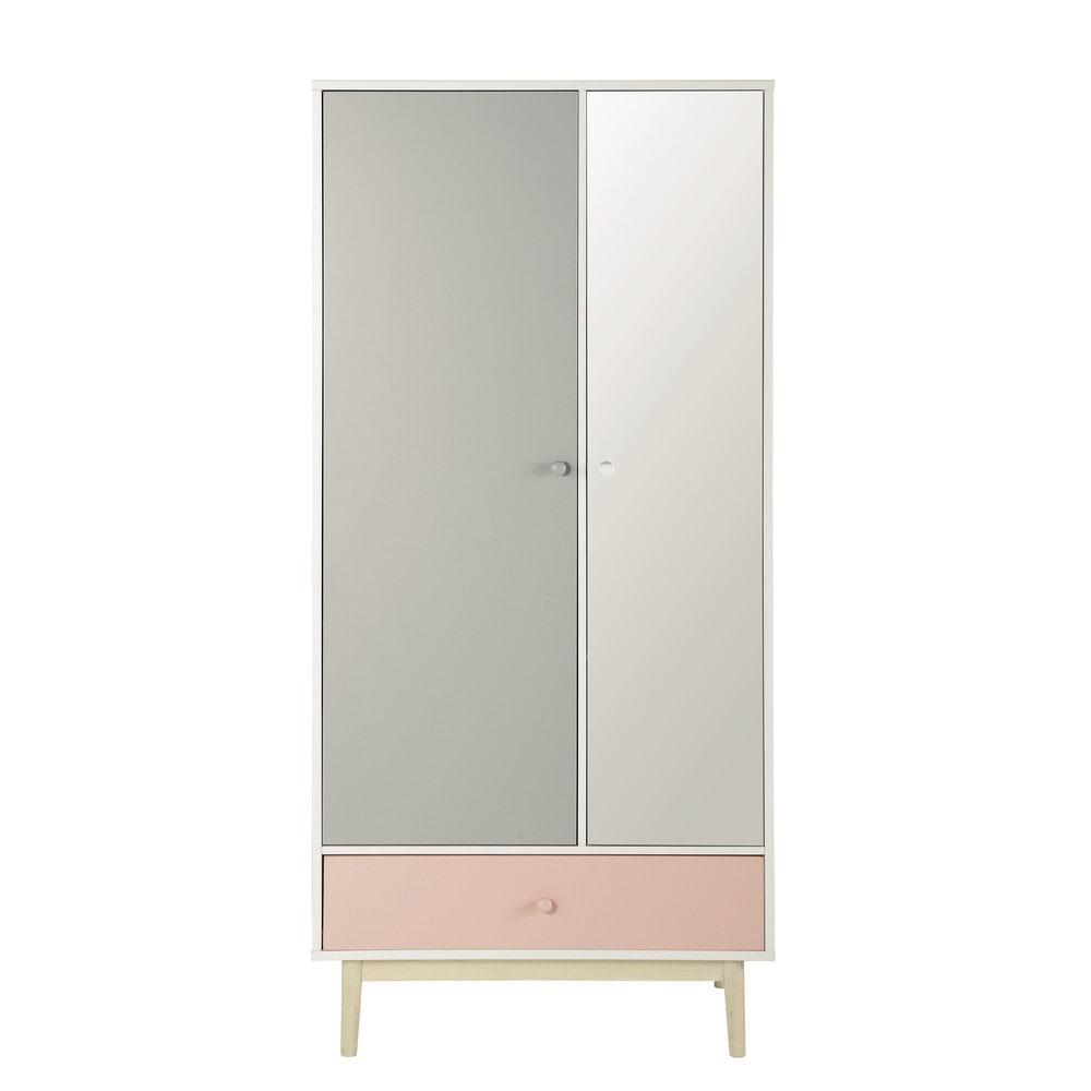 kleiderschrank aus holz mit spiegel b 90 cm wei blush. Black Bedroom Furniture Sets. Home Design Ideas